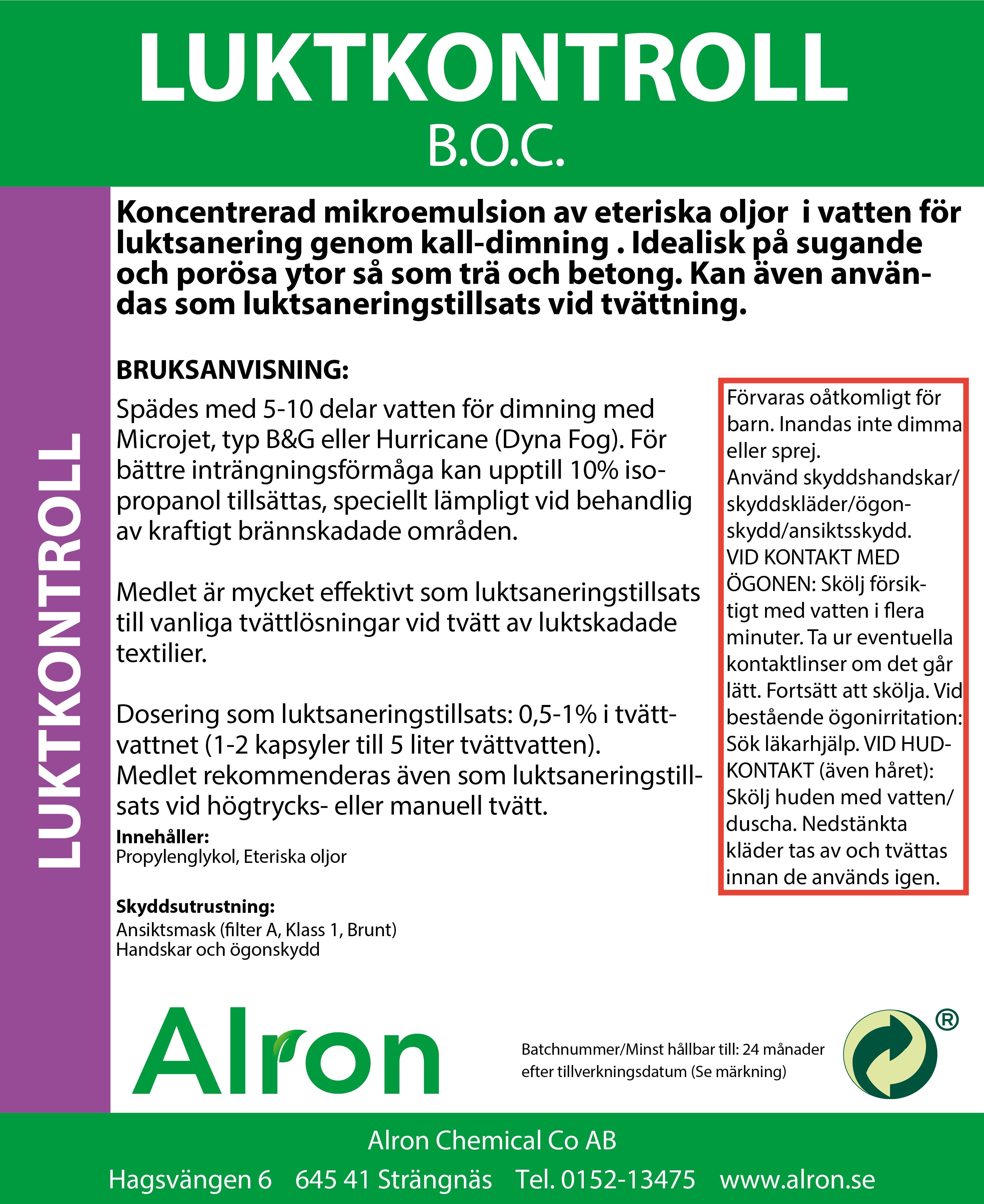 Odor control B O C  Etk S2017-Alron Chemical AB